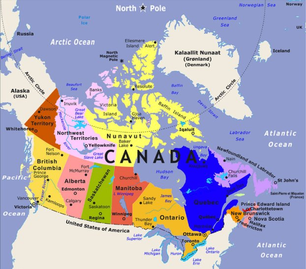 map of the provinces in canada
