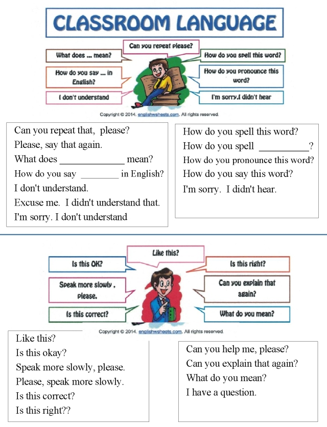 English asking clarification sentences and questions