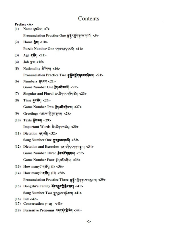 english for tibetans table of contents 1