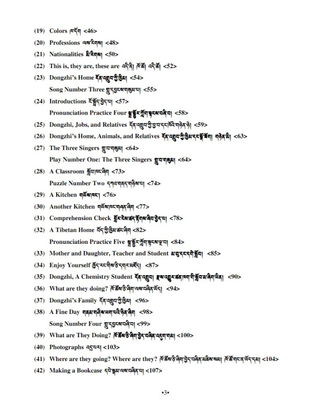 English for tibetans table of contents 2