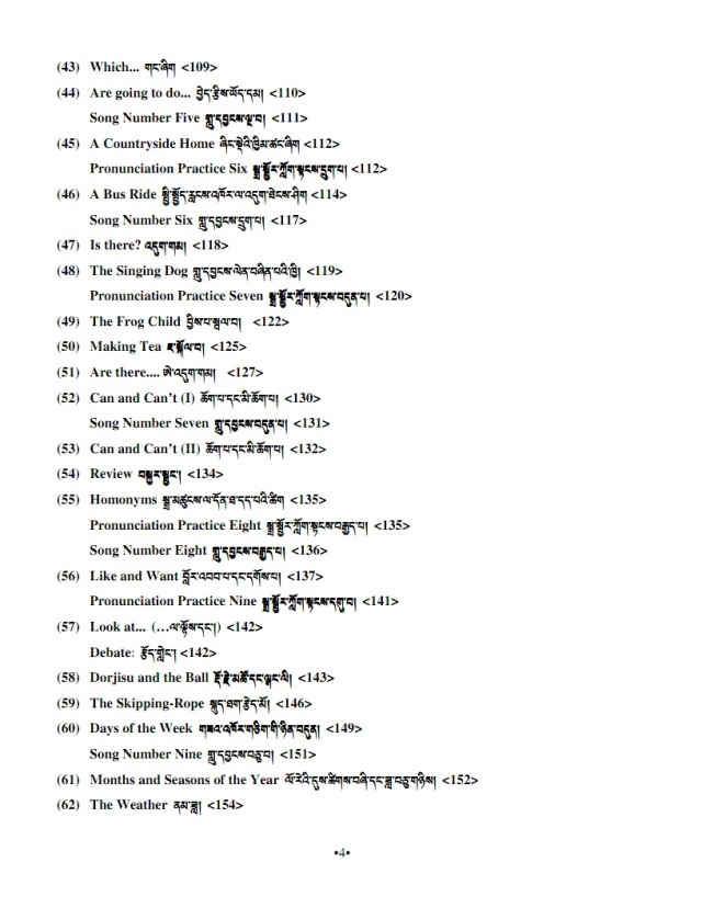 English for tibetans table of contents 3
