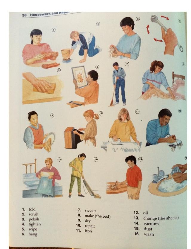 household chores verbs