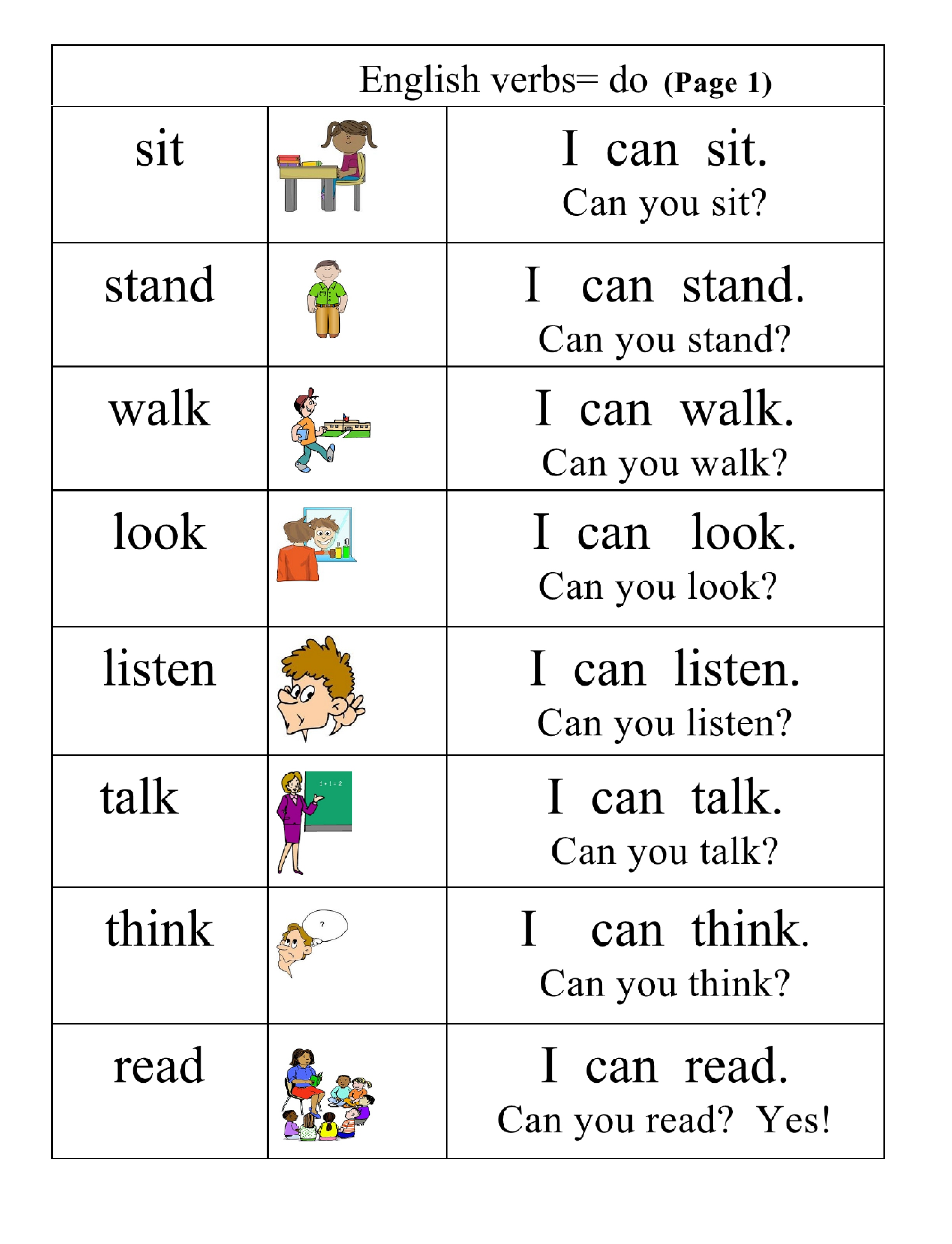 Worksheet Sentence Verb very basic verbs group 1 pictures words simple sentences page english pg sentence and question i can sit you sit