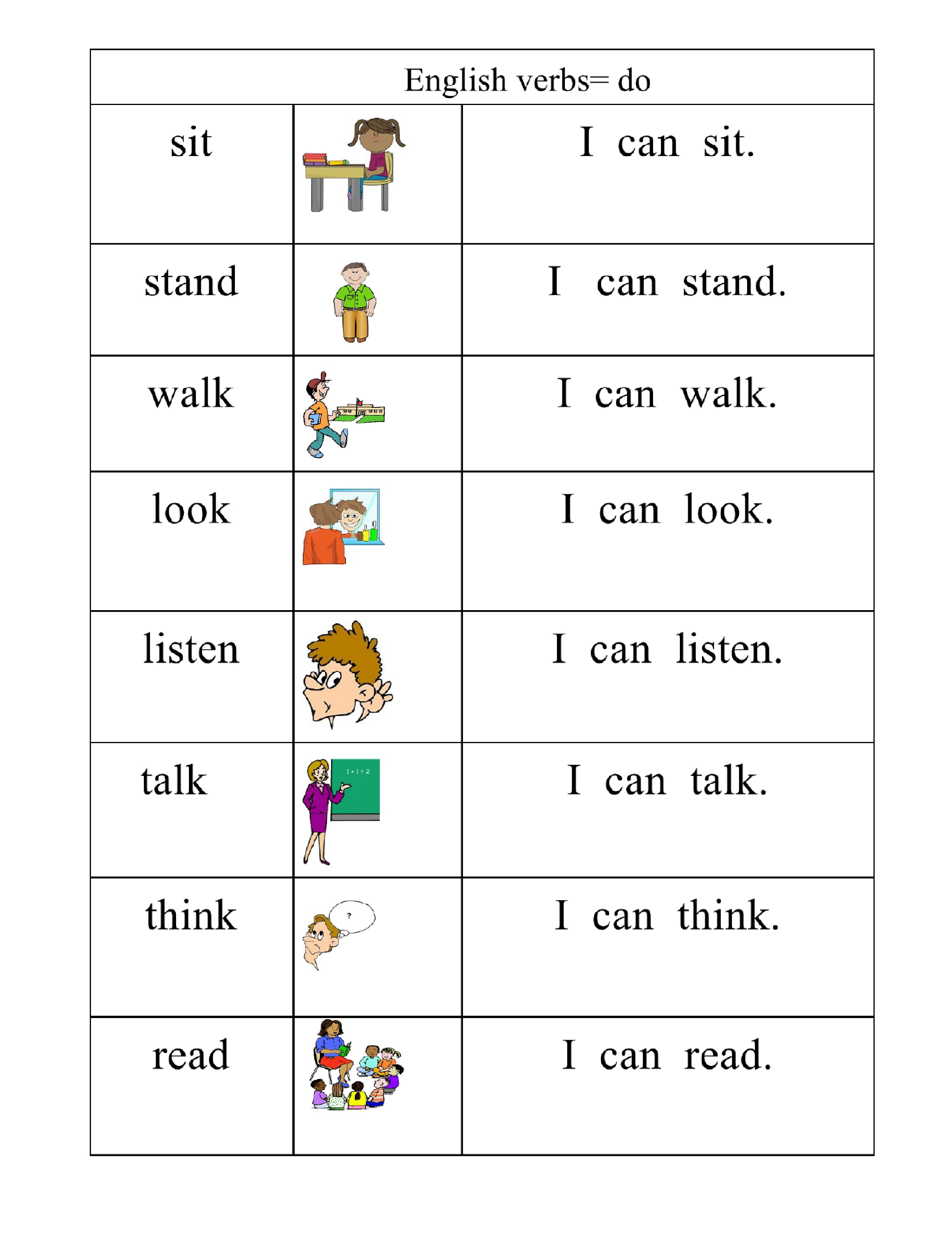 writing action verbs worksheets
