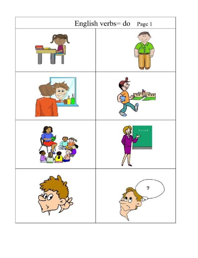 English  verbs pg 1 just  pictures