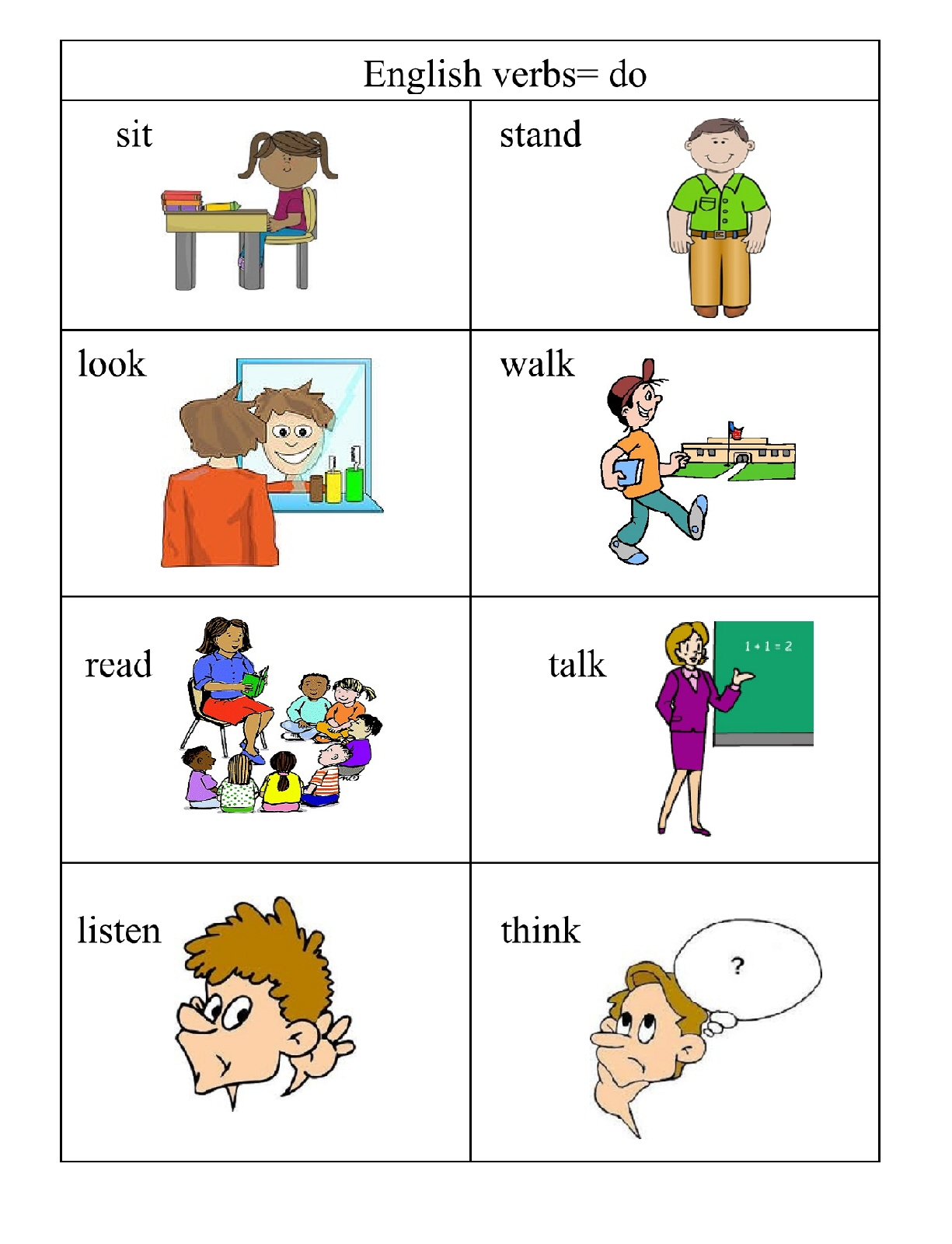 Worksheet Verb Is A Doing Word verbs doing words english 4 me 2 pg 1 pictures and words