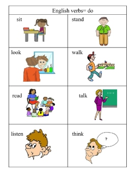 English  verbs pg 1 pictures and words