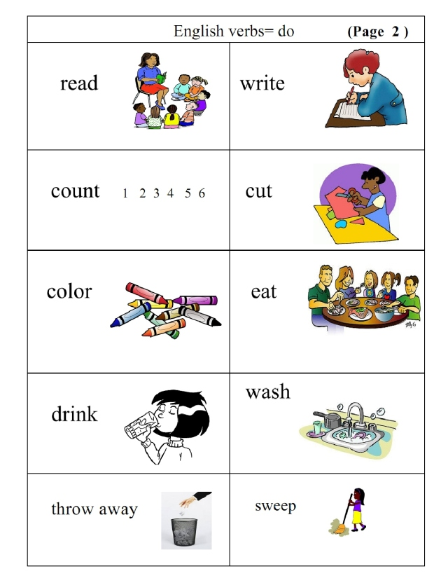 English verbs pg 2 picture and word