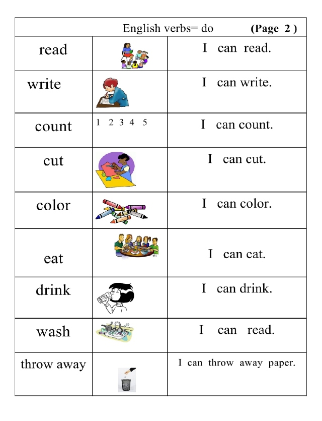 English verbs pg 2 picture word and sentence