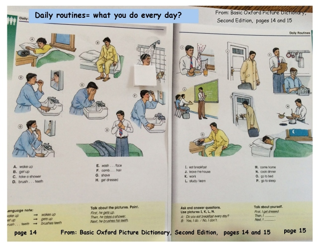 English daily routines sequence page 1 pictures