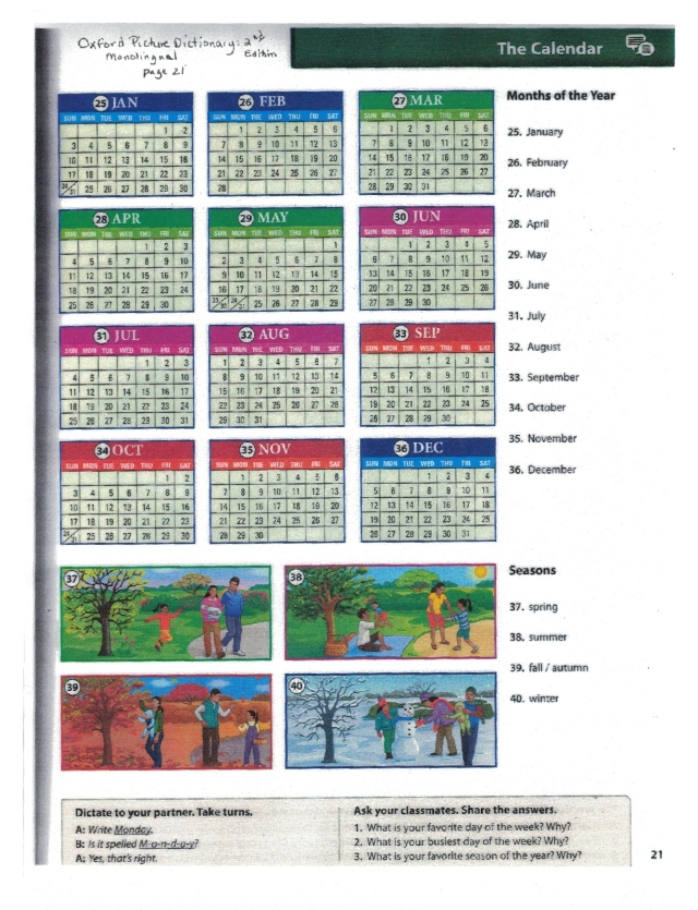 English calendar months oxford 21