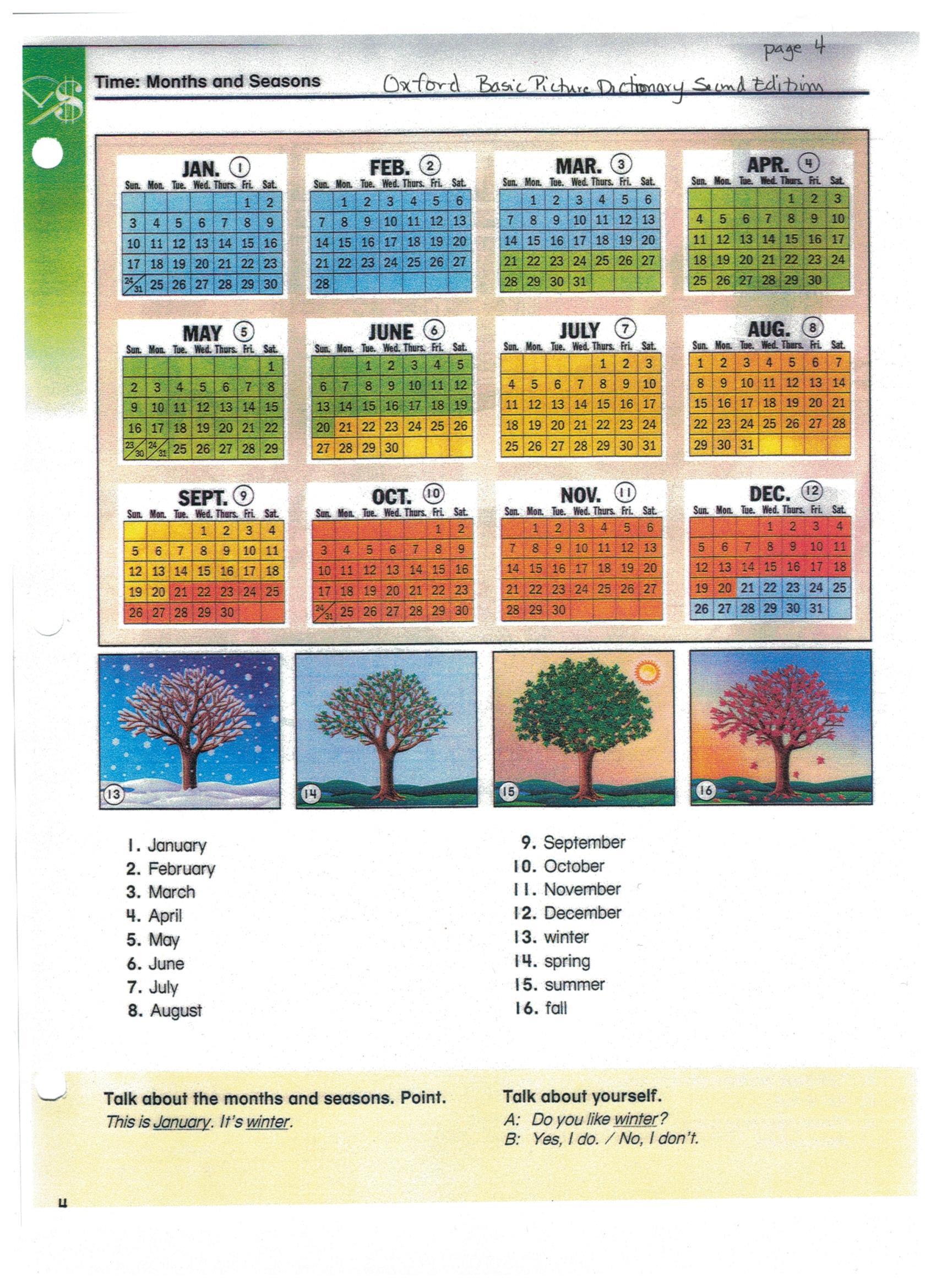 Calendar Year Names : When calendar english me