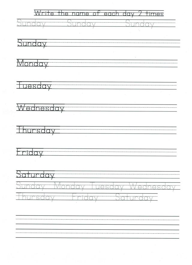 English calendar print days of week 001