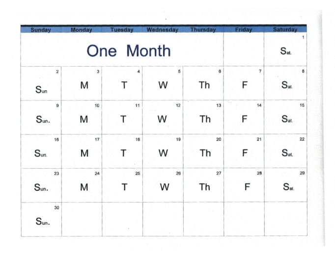 English monthly calendar with days of week