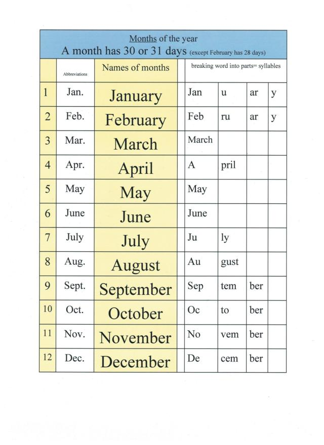 English months names of months 001