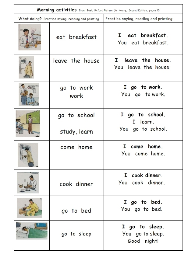 English morning act page 15 sentences with I and you