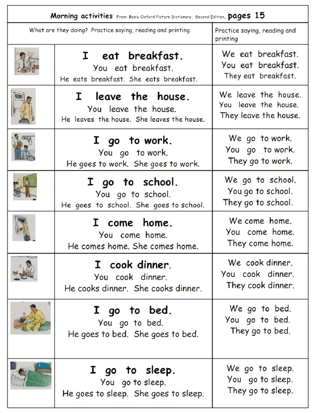 english morning activities page 15 I you he she etc