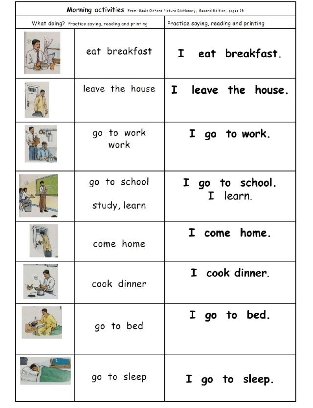 english page 15 morning just I sentences