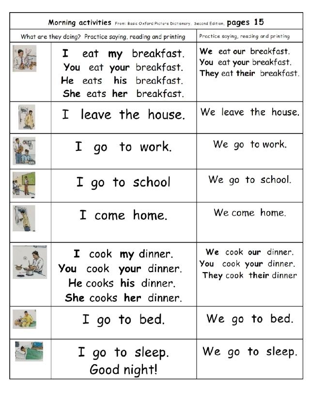 english page 15 with some possesive pronouns