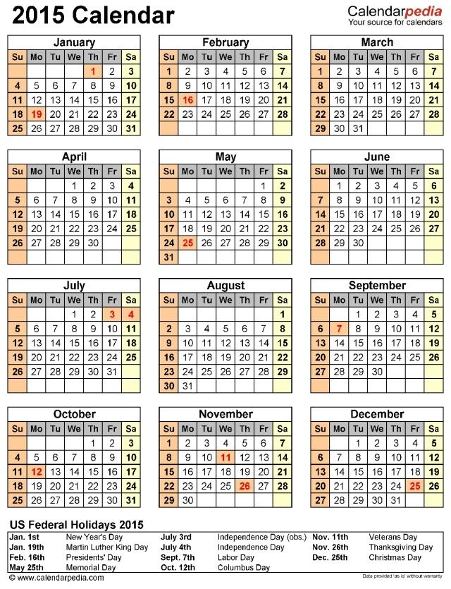 Oakland calendar 2015