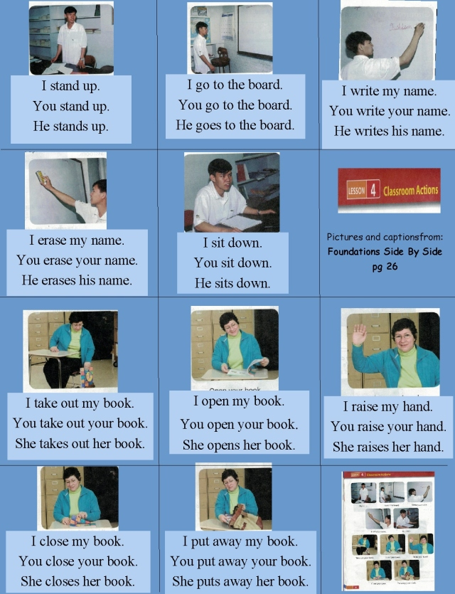 English classroom verbs sentences I you he she etc