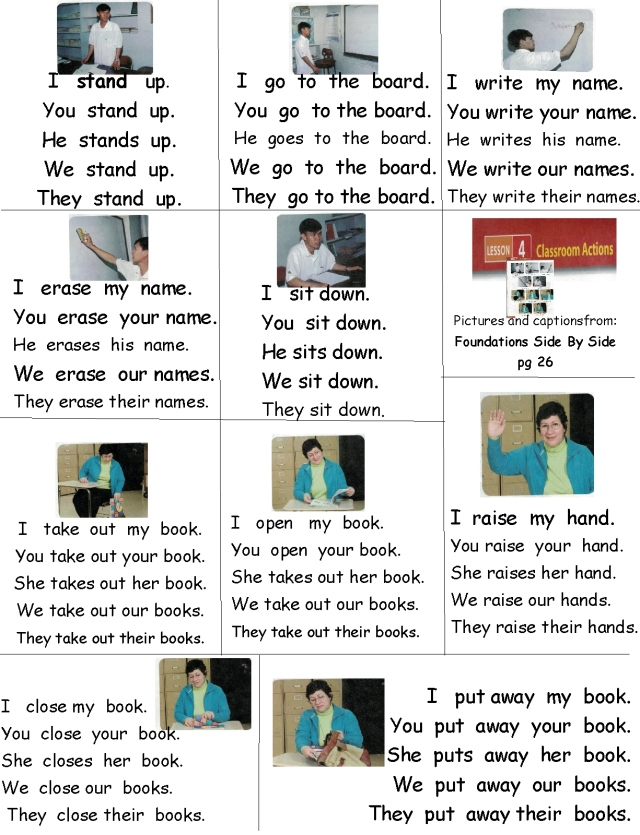 English classroom verbs sentences with I you he she we they