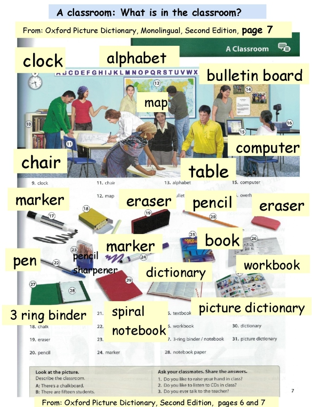 English classroom objects 2 larger fonts