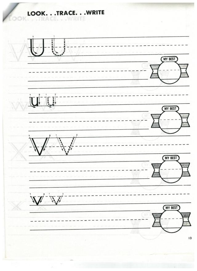 english abc print u and v 001