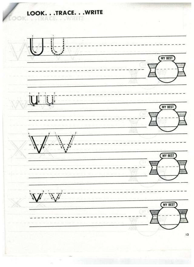english abc print u and v 001