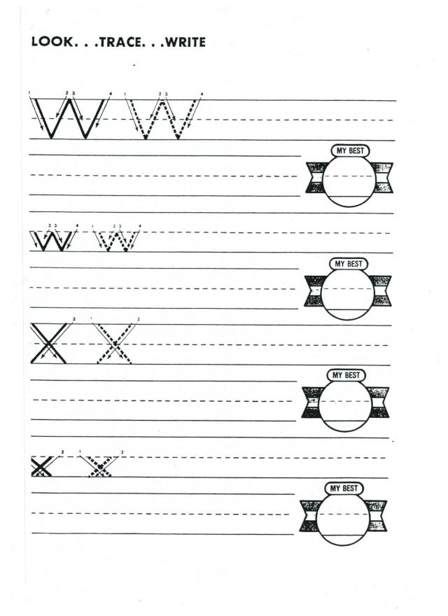 English abc printing w and x 001